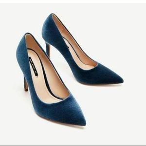 Zara Peacock Blue Velvet High Heel Pumps 41